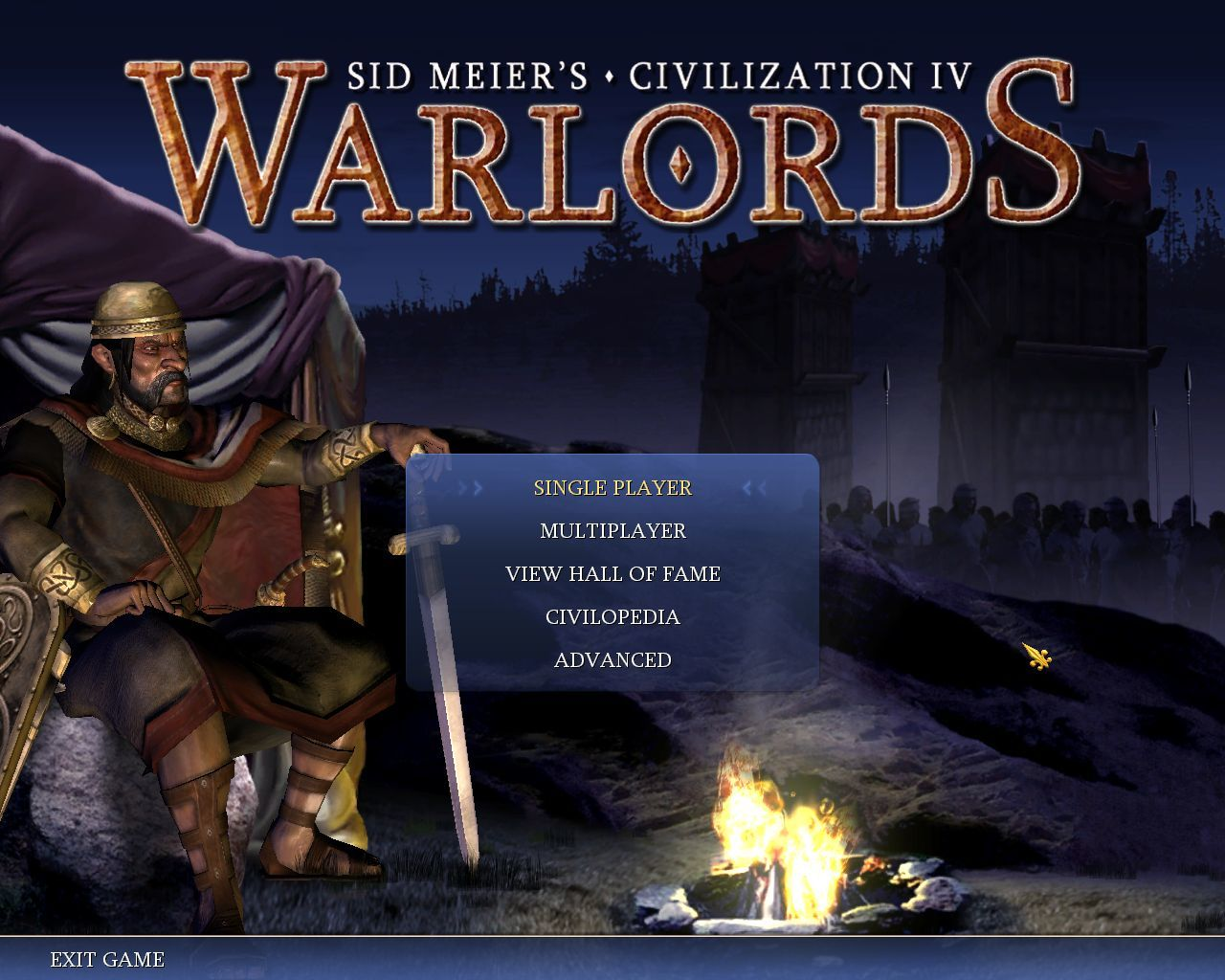 Sid Meier's Civilization IV: Warlords Windows New main menu