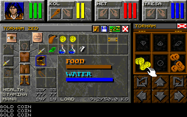 Dungeon Master II: Skullkeep DOS The inventory screen and moneybox