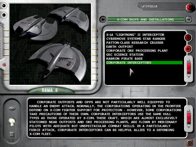 X-COM: Interceptor Windows UFOpedia