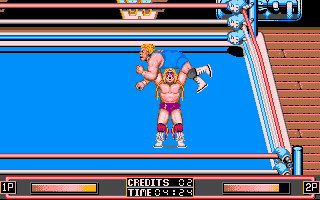 WWF Wrestlemania DOS The Ultimate Warrior's patented Gorilla Press Drop.