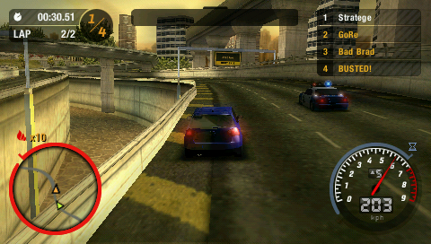 Need for Speed: Most Wanted 5-1-0 PSP The cop are trying to bust my car.