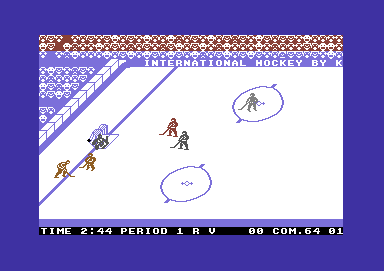 International Hockey Commodore 64 A goal is celebrated