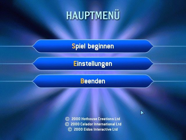 Who Wants to Be a Millionaire Windows Main menu (German edition)