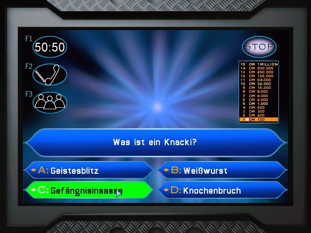 Who Wants to Be a Millionaire Windows ... is this your final answer? Yep. And this is CORRECT! (German edition)