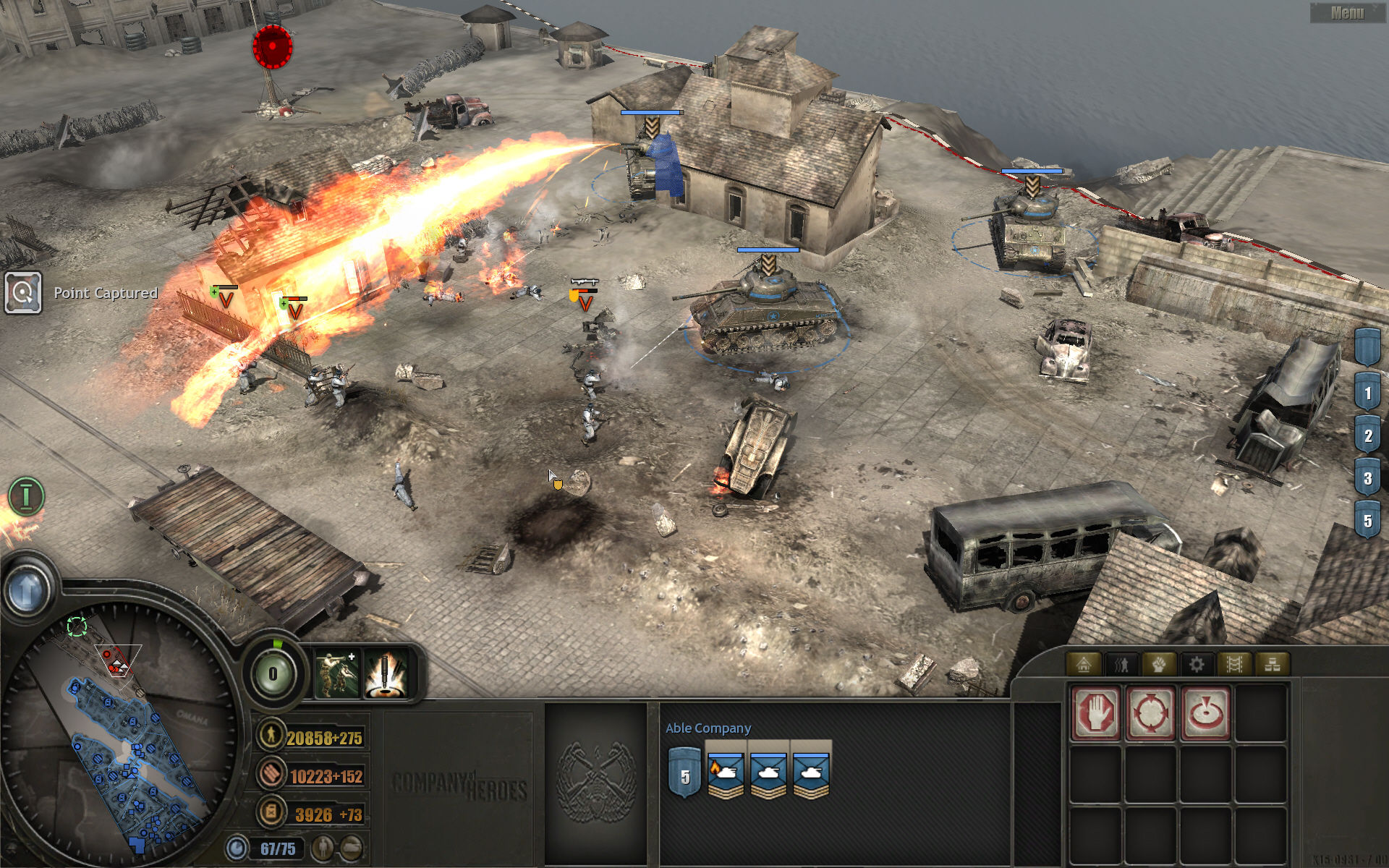 Company of Heroes Windows A flamethrower-version Sherman is available for those Sunday BBQs, well it's pretty neat on German infantry too :)