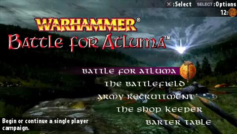 Warhammer: Battle for Atluma PSP Main menu