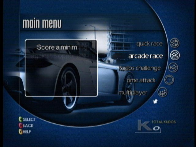 Project Gotham Racing Xbox Main menu