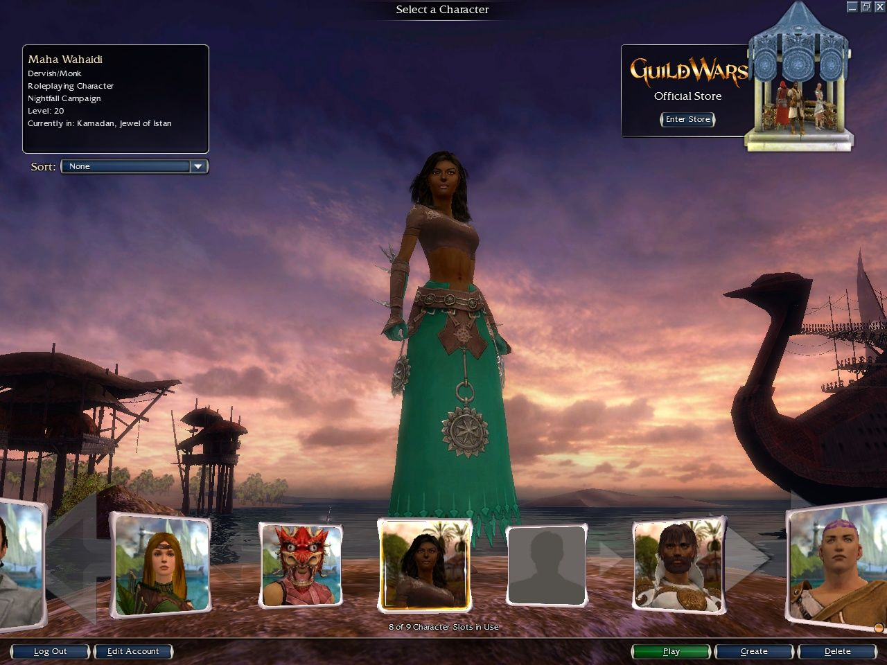 Guild Wars: Nightfall Windows New character selection screen for Guild Wars Nightfall