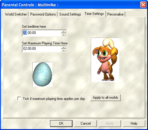 Creatures Adventures Windows Parental controls dialog where parents can even specify a child's bedtime.