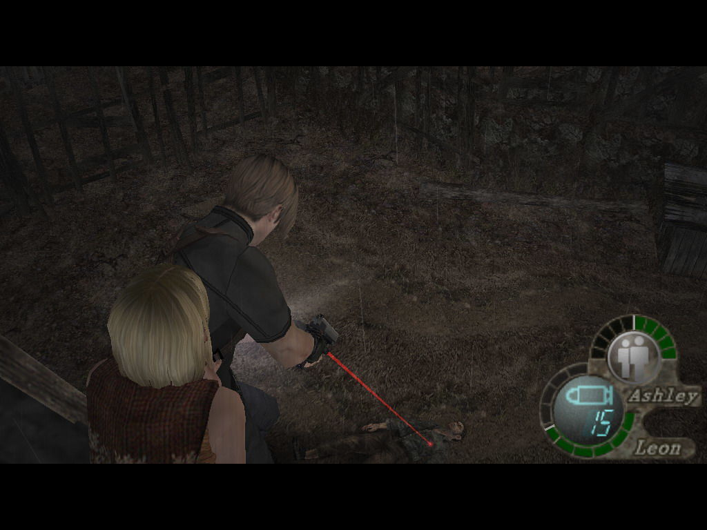 Resident Evil 4 Windows Aiming at an almost-dead body.