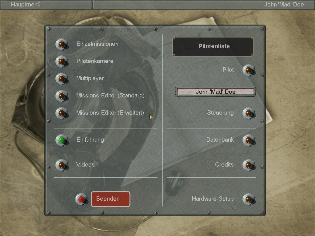 IL-2 Sturmovik Windows Main menu