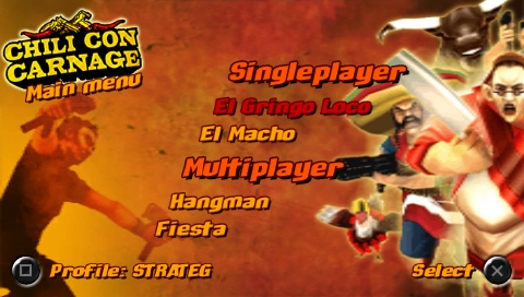 Chili Con Carnage PSP Main menu
