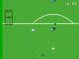 Super Kick Off SEGA Master System The ball becomes larger in the air, because of the top down view