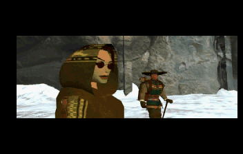 Tomb Raider SEGA Saturn Tibet intro shot 2. Check out Lara in all of her low-poly hotness.