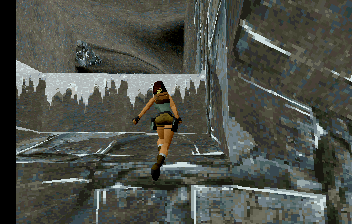 Tomb Raider SEGA Saturn Lara is about to scale some ledges.