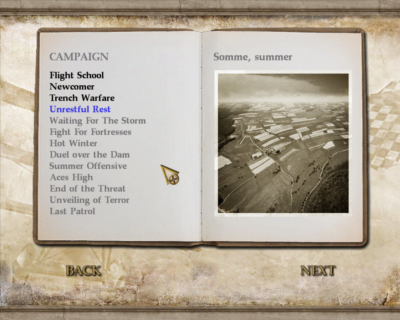 Wings of War Windows The campaign menu
