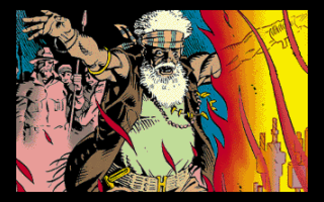 Beneath a Steel Sky DOS CD-ROM intro: Dave Gibbons illustrates the shaman leading the shantytown in which Foster was raised