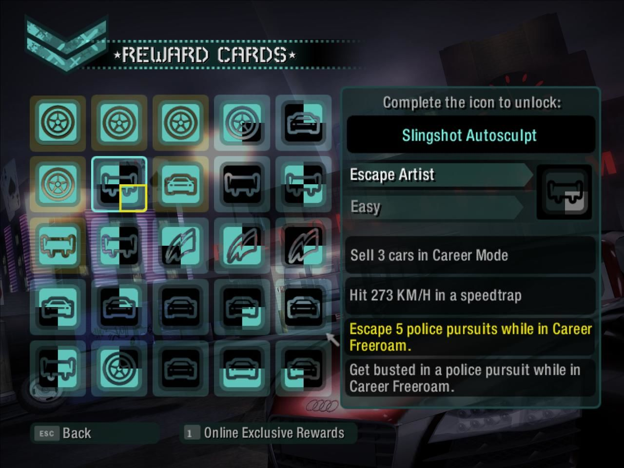 Need for Speed: Carbon Windows Reward Cards Chart: Here you can view what cards you have unlocked and which are missing in order to unlock various extras.