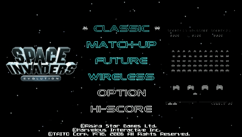 Space Invaders Evolution PSP Main menu