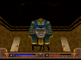 Powerslave SEGA Saturn Having a little chat with a Pharaoh head.
