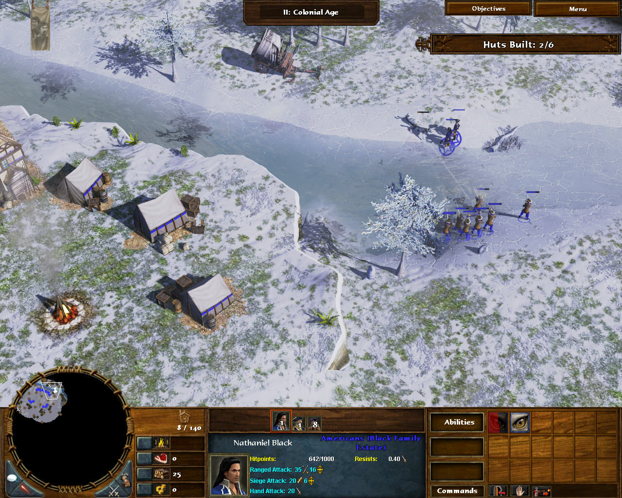 Age of Empires III: The WarChiefs Windows The men won't last long working out in this cold. Move your soldiers to the fires to heal them.