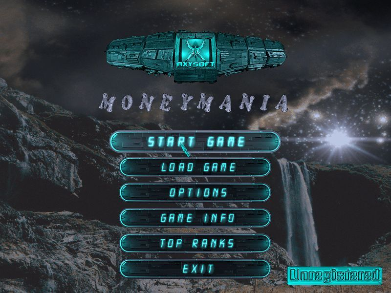 MoneyMania Windows Main menu