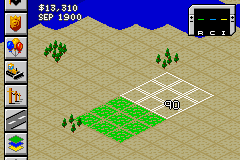 SimCity 2000 Game Boy Advance Placing a residential zone.