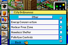 SimCity 2000 Game Boy Advance City ordinances window.