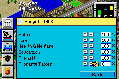 SimCity 2000 Game Boy Advance Reduce taxes to attract more people to your city.