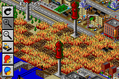 SimCity 2000 Game Boy Advance Dispatching fire units.