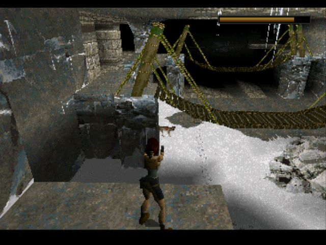 Tomb Raider PlayStation Shooting at a wolf from a safe distance.