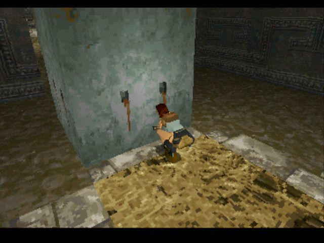 Tomb Raider PlayStation Pulling a block.