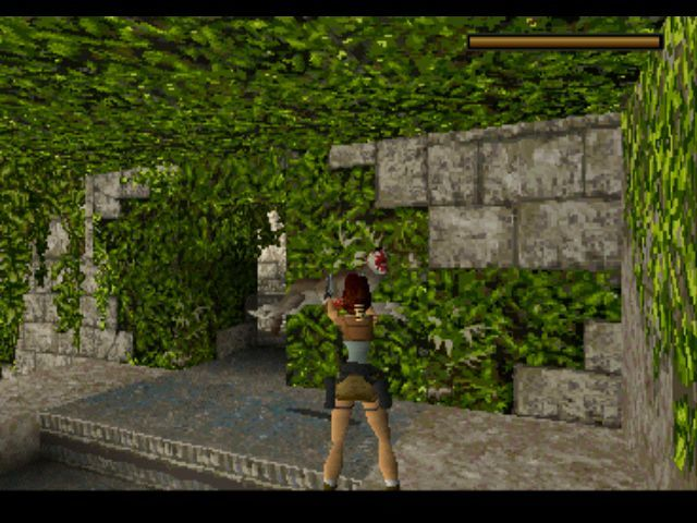 Tomb Raider PlayStation A wolf is attacking.