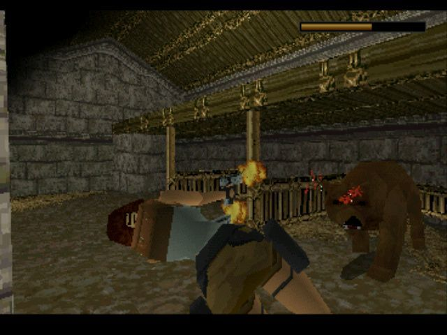 Tomb Raider PlayStation Surprising a bear in its... stable?