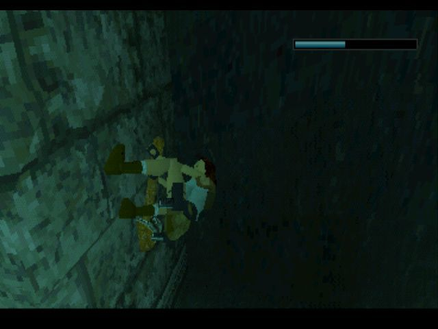 Tomb Raider PlayStation Underwater, pulling a lever that opens the door to a secret room.