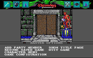 Wizardry: Bane of the Cosmic Forge DOS Main menu - which also serves as the entrance to the dungeon. You'll need to assemble a party before you can do that