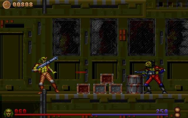 Alien Rampage DOS About to get hit with a blaster!