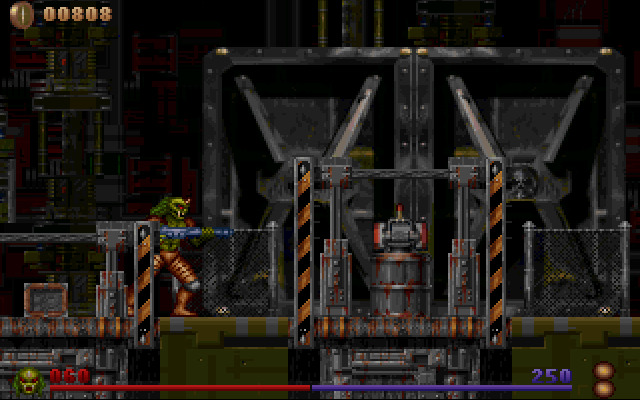 Alien Rampage DOS Behind those doors lie the first world's boss.