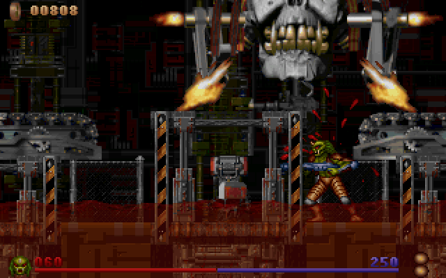 Alien Rampage DOS The Crash Site's boss. You already got a teaser that you'll beat him if you look at the background of the intro screen.