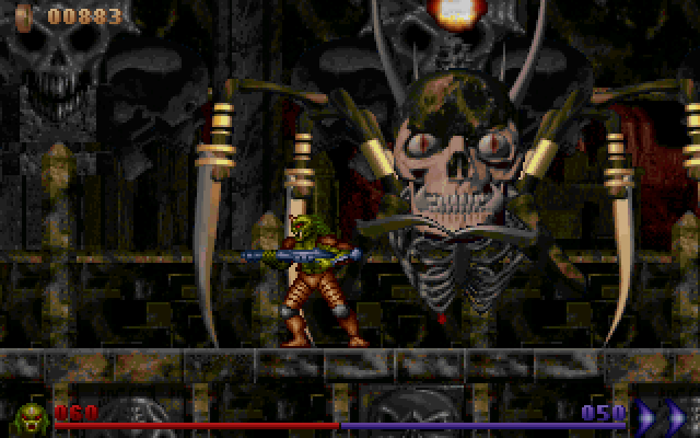 Alien Rampage DOS The Temple Ruins' boss.