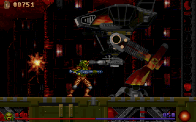 Alien Rampage DOS Boss of the Abandoned City. Now blow that thing and go home.
