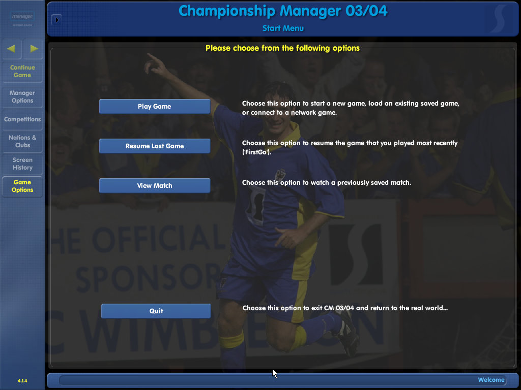 Championship Manager: Season 03/04 Windows Main menu