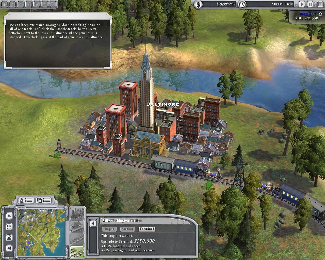 Sid Meier's Railroads! Windows Tutorial familiarizes player with laying tracks.
