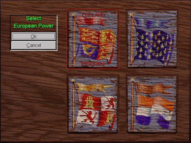 Sid Meier's Colonization Windows Select your nation: A preliminary view of a colony