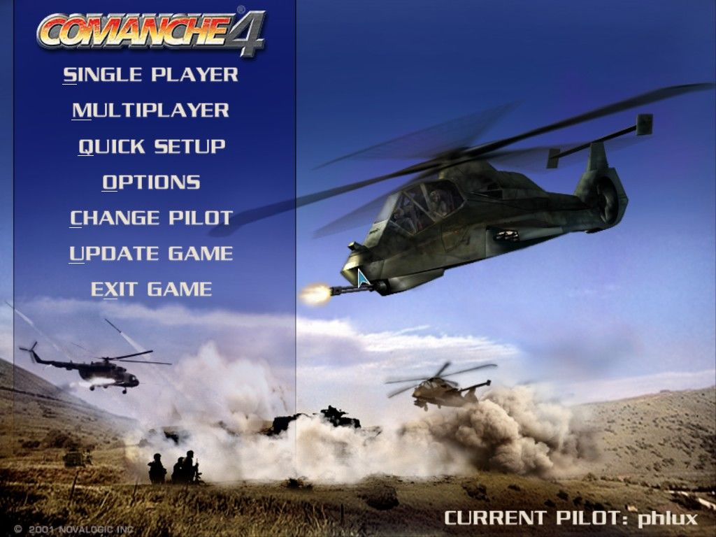 Comanche 4 Windows Main menu