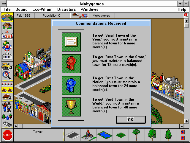 SimTown Windows 3.x Awards