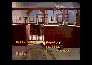 Mad Dog McCree SEGA CD Difficulty configuration screen