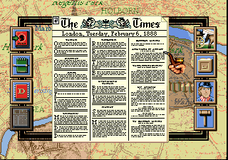 Sherlock Holmes: Consulting Detective SEGA CD One of the newspapers from a high level view