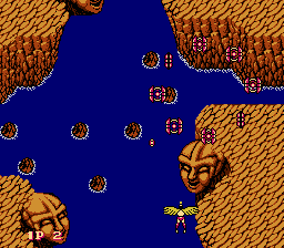 Legendary Wings NES Encountering a group of enemies in circular formation
