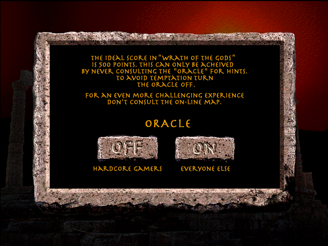 Wrath of the Gods Windows 3.x The Oracle, the on-line hint system